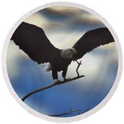 Bald Eagle And Clouds Round Beach Towel