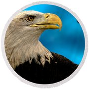 Bald Eagle And Fledgling  Round Beach Towel
