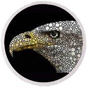 Bald Eagle Art - Eagle Eye - Stone Rock'd Art Round Beach Towel by Sharon Cummings