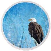 Bald Eagle Blues Round Beach Towel