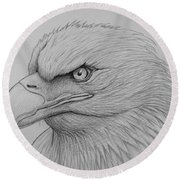 Bald Eagle Drawing Round Beach Towel