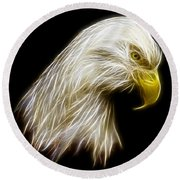 Bald Eagle Fractal Round Beach Towel
