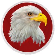 Bald Eagle Painting Round Beach Towel