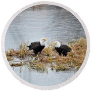 Bald Eagle Pair Round Beach Towel