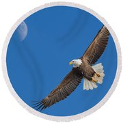Bald Eagle Soaring With The Moon Round Beach Towel