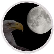 Bald Eagle With Full Moon - 2 Round Beach Towel