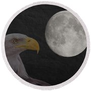 Bald Eagle With Full Moon - 3 Round Beach Towel