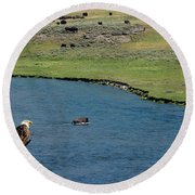 Baldy And Bull Round Beach Towel