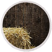 Bale Of Straw And Wooden Background Round Beach Towel