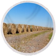 Bales Of Hay On An Old Farm Road Round Beach Towel