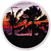 Bali Sunset Impasto Paint Version Round Beach Towel
