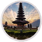 Bali Water Temple 2 Round Beach Towel