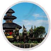 Bali Wayer Temple Round Beach Towel