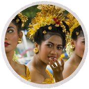 Balinese Dancers Round Beach Towel by David Smith