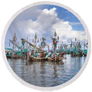 Balinese Fishing Boats Round Beach Towel