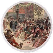 Ball At The Court, Illustration Round Beach Towel