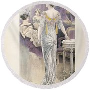 Ball Gown Round Beach Towel by French School