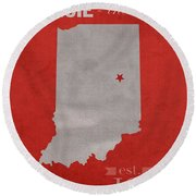 Ball State University Cardinals Muncie Indiana College Town State Map Poster Series No 017 Round Beach Towel