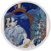 Ball Under The Blue Moon Round Beach Towel by Georges Barbier