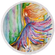 Ballerina Curtain Call Round Beach Towel