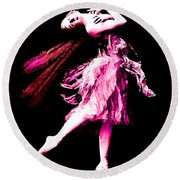 Ballerina Wings Pink Portrait Art Round Beach Towel