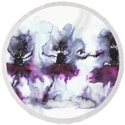 Ballet Dancers Round Beach Towel