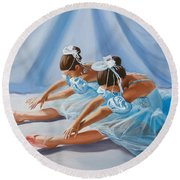 Ballet Dancers Round Beach Towel by Paul Walsh