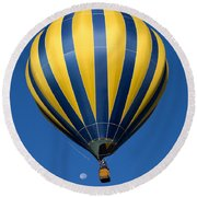 Balloon And The Moon Round Beach Towel