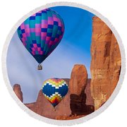 Balloon Festival In Monument Valley Round Beach Towel
