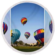 Balloon Festival Panels Round Beach Towel