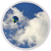 Balloon In The Clouds Round Beach Towel