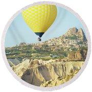 Balloon Ride Over Goreme National Park Round Beach Towel