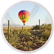 Balloon Ride Over The Desert Round Beach Towel