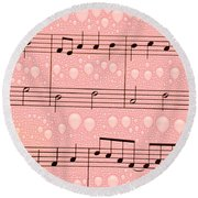 Balloons And Music Round Beach Towel