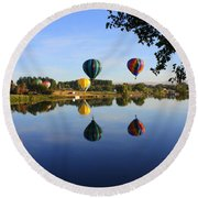 Balloons Heading East Round Beach Towel by Carol Groenen