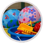 Balls And Toys In Buckets Round Beach Towel