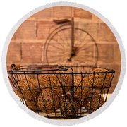 Balls In The Basket Round Beach Towel