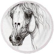 Balon Polish Arabian Horse Portrait 2  Round Beach Towel
