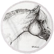 Balon Polish Arabian Horse Portrait 3 Round Beach Towel