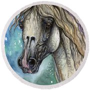 Balon Polish Arabian Horse Portrait 4 Round Beach Towel