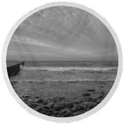 Baltic Sea And Clouds Round Beach Towel