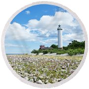 Baltic Sea Lighthouse Round Beach Towel