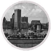 Baltimore Harbor Skyline Panorama Bw Round Beach Towel