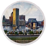 Baltimore Harbor Skyline Panorama Round Beach Towel