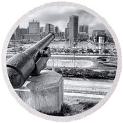 Baltimore Inner Harbor Skyline Round Beach Towel