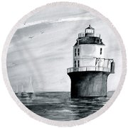 Baltimore Lighthouse In Gray  Round Beach Towel