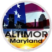 Baltimore Md Patriotic Large Cityscape Round Beach Towel