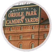 Baltimore Orioles Park At Camden Yards Round Beach Towel by Frank Romeo