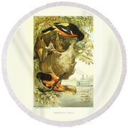Baltimore Orioles Round Beach Towel by Philip Ralley