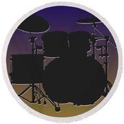 Baltimore Ravens Drum Set Round Beach Towel